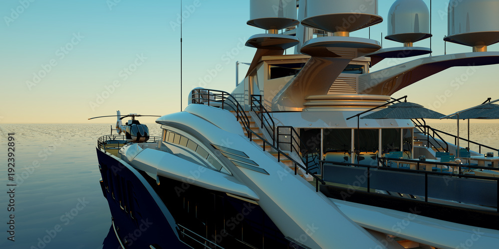 Fototapeta Extremely detailed and realistic high resolution 3D illustration of a luxury super yacht with a helicopter, a swimming pool and a jacuzzi