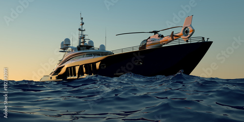 Extremely detailed and realistic high resolution 3D illustration of a luxury super yacht with a helicopter, a swimming pool and a jacuzzi