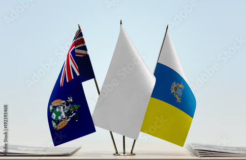 Tuinposter Canarische Eilanden Flags of Ascension Island and Canary Islands with a white flag in the middle