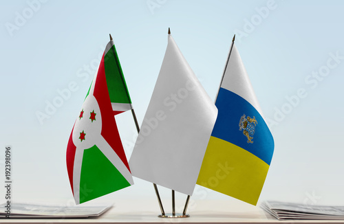 Deurstickers Canarische Eilanden Flags of Burundi and Canary Islands with a white flag in the middle