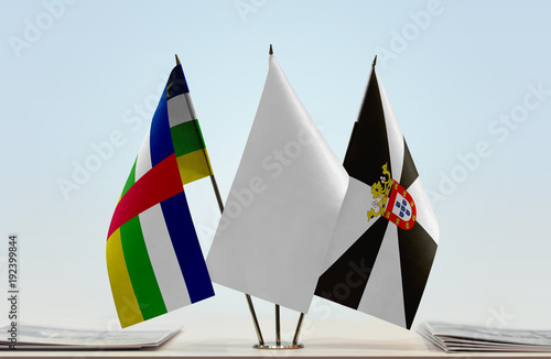Flags of Central African Republic and Ceuta with a white flag in the middle