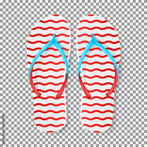 Realistic red and white flip flops. Vector illustration with seasonal summer footwear isolated on transparent background.