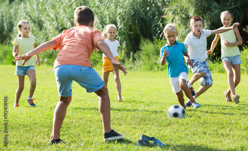 Group of friendly kids playing football together on green lawn in park  Stock Photo | Adobe Stock
