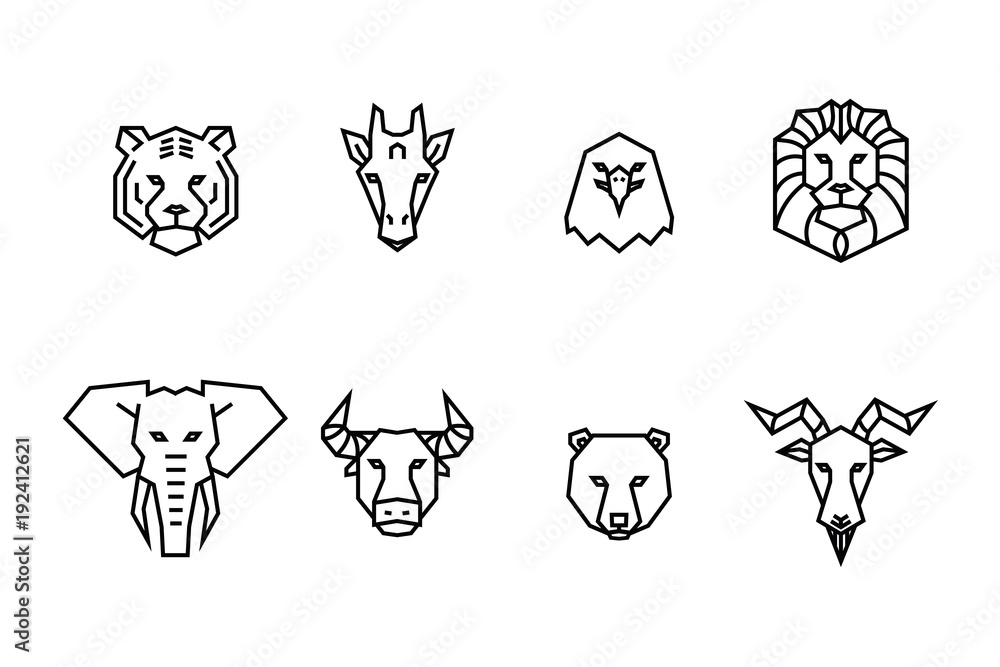 Fototapeta 8 animal heads icons. Vector geometric illustrations of wild life animals.
