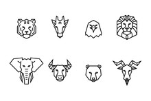 8 Animal Heads Icons. Vector G...