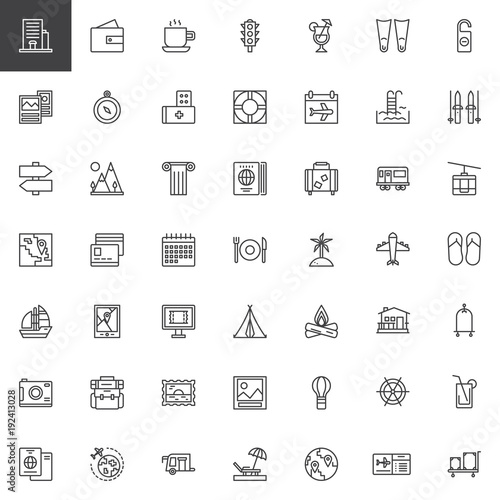 Travel Elements Outline Icons Set Journey Linear Style Symbols