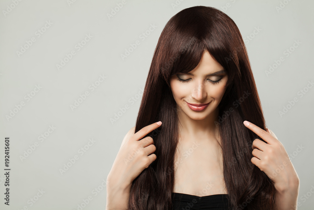 Fototapeta Beautiful Young Woman with Healthy Brown Hair Beauty Portrait, Closed Eyes