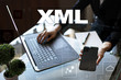 XML. Web development. Internet and technology concept.