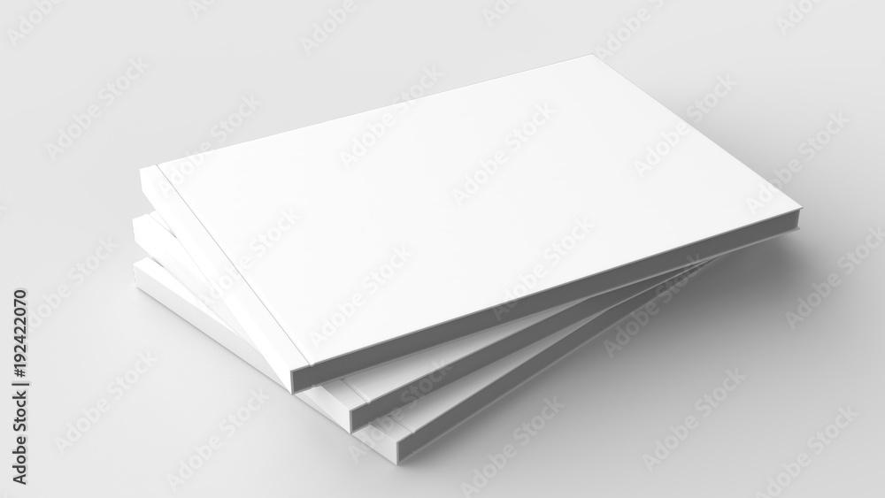 Fototapeta Horizontal - landscape hardcover brochure, book or catalog mock up isolated on soft gray background. 3D illustrating.