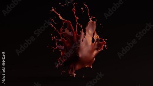 Valokuvatapetti Runny Chocolate Splash 3d illustration