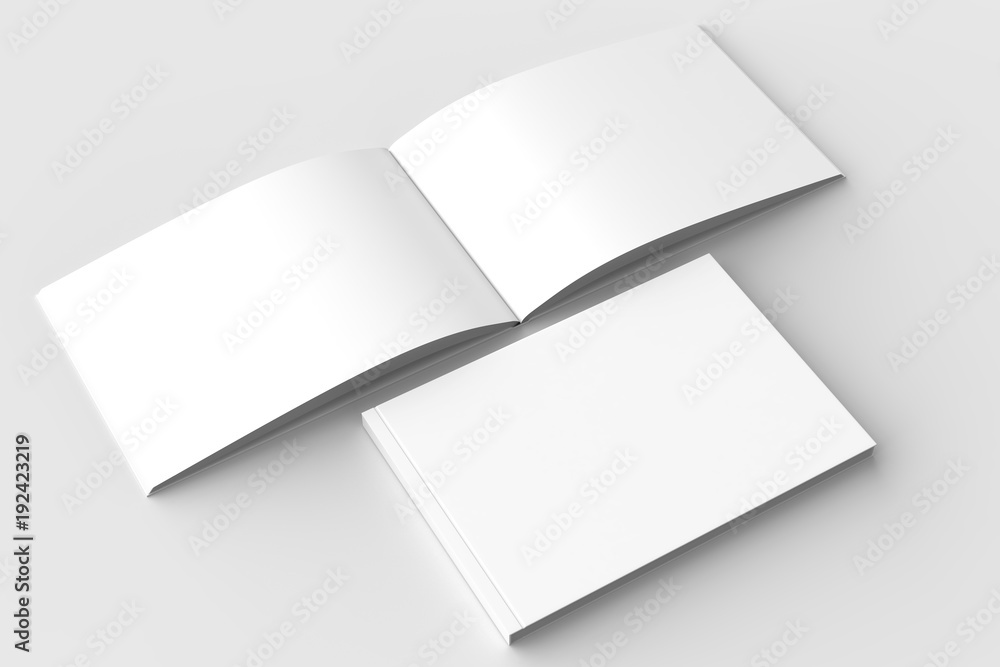 Fototapety, obrazy: Horizontal - landscape hardcover brochure, book or catalog mock up isolated on soft gray background. 3D illustrating.