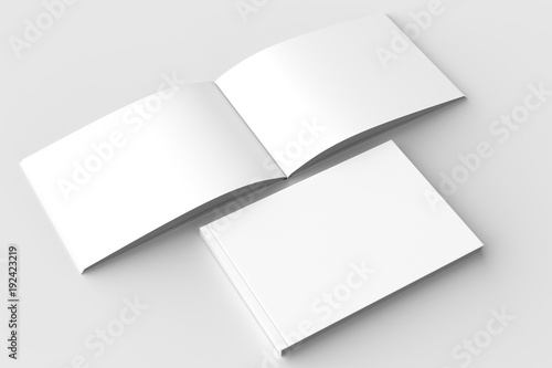 Fotografiet  Horizontal - landscape hardcover brochure, book or catalog mock up isolated on soft gray background
