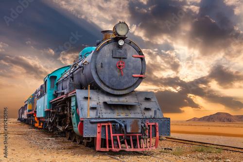 Fotografie, Obraz  Locomotive train in Wadi Rum desert, Jordan