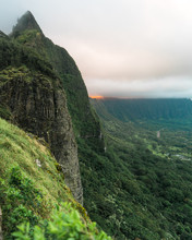 The Incredible Cliffs Of The Oahu Mountains At Sunset
