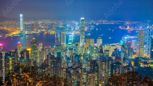 Spoed Foto op Canvas Hong-Kong Hong Kong cityscape at night view from The Peak