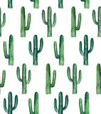 Cactus pattern watercolor. Green botanical background - 192431215