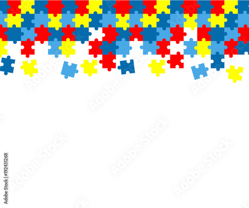 Photo Colorful autism awareness puzzle background
