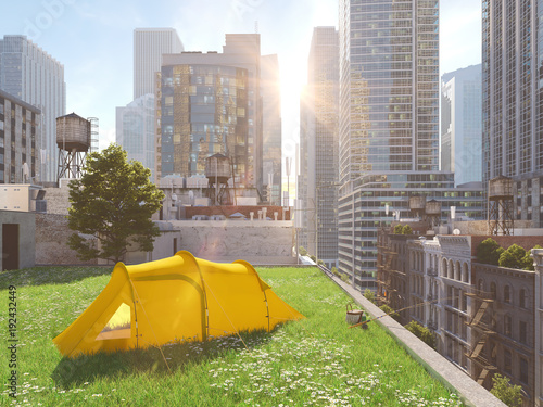 wanderlust in a big city. camping concept. 3d rendering