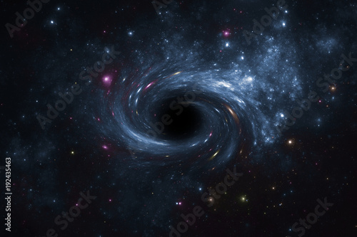 Photo Deep space star field with black hole.