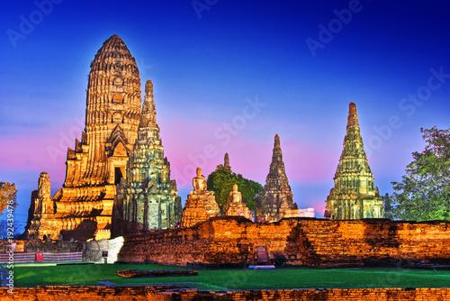 Tuinposter Monument Wat Chaiwatthanaram, a Buddhist temple in Ayutthaya, Thailand