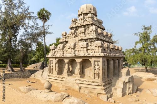 Obraz na plátně The Five Rathas, Yudhishthir ratha, Mahabalipuram, Tamil Nadu, India