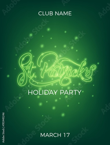 Saint Patricks Day Invitation Design Layout With Neon St Lettering And Glowing Firefly