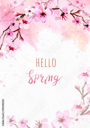 Keuken foto achterwand Kersenbloesem Cherry blossom on pink watercolor background.