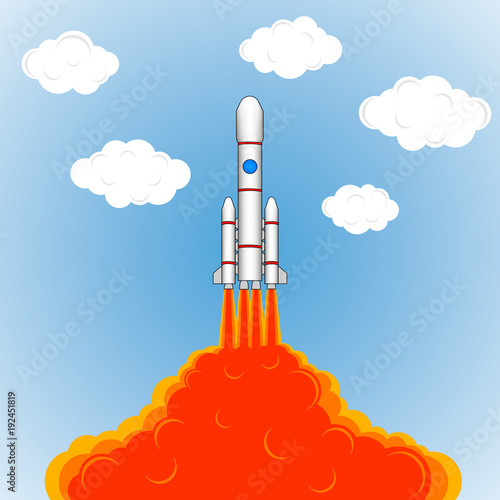 The Launch Of A Space Rocket Drawing Rockets Fire Sky And