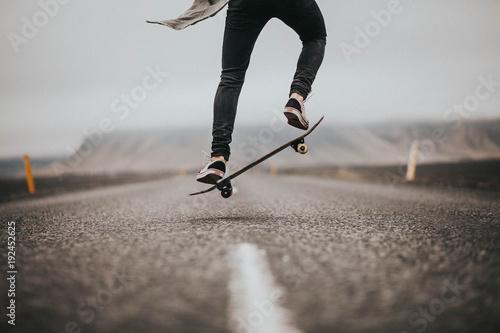 Man young skateboarder legs skateboarding