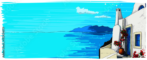 Poster Turquoise Greece summer island landscape. Santorini hand drawn horizontal vector background. Picturesque sketch. Ideal for card, invitation, banners, posters.