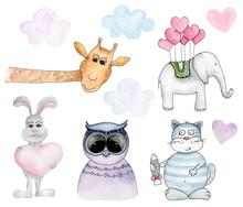 Watercolor Animals Cartoon Cli...