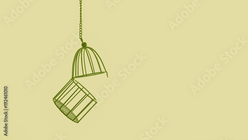 Fotografie, Obraz  bird cage isolated on color background