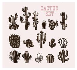 Vektorska kolekcija crne ručno izvučene kolekcije skica kaktusa izolirane na bijeloj pozadini. Set ikona ravnog kaktusa. Ilustracija elemenata prirode.