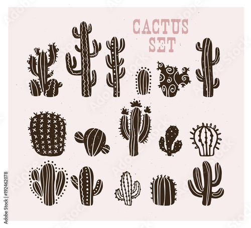 Fototapeta Vector collection of black hand drawn cactus sketch collection isolated on white background