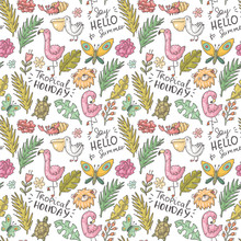 Vector Hand Drawn Seamless Tropical Pattern