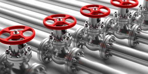 Industrial pipelines and valves close up on white background. 3d illustration