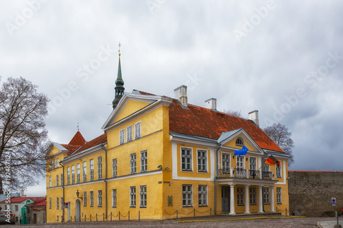 The old three-story yellow building in Tallinn, in which the German Embassy is l Wallpaper Mural