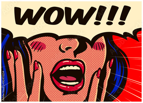 Poster Pop Art Retro pop art style surprised and excited comics woman with open mouth and speech bubble saying wow vintage vector illustration