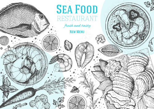 Foto Vintage seafood frame vector illustration