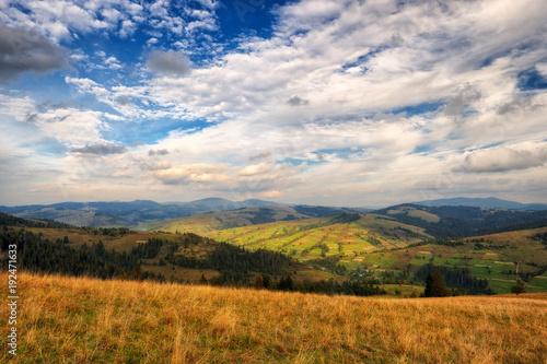 Foto op Aluminium Nachtblauw autumn morning. a picturesque sky in the autumn Carpathian mountains
