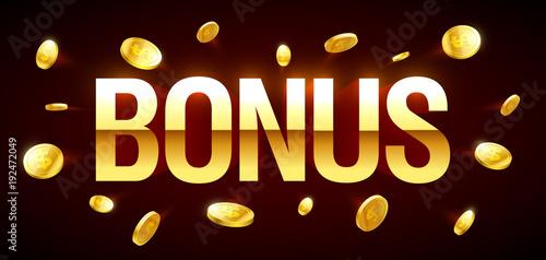 Fototapeta Bonus, gambling games casino banner with Bonus inscription and gold explosion of coins around obraz