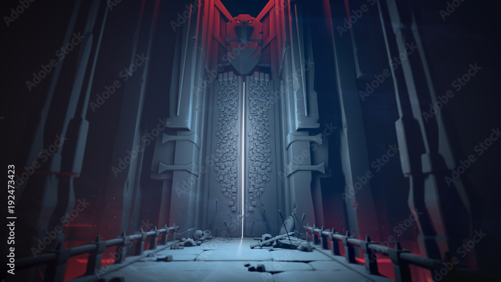 Fototapeta Mysterious dungeon with opening gates in blue tones. Entrance to the treasury. Above the high gate is a sculpture of a bird. At the gate lie skulls, shields and swords on a stone bridge. 3D rendering.