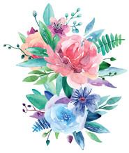Watercolor Floral Bouquet Clip Art. Pink And Blue Flowers Illustration