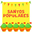 Santos Populares Portuguese festival card with manjerico plants and bunting garland.