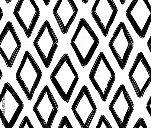 Cotton fabric Abstract geometric pattern. Black and white rhombus background