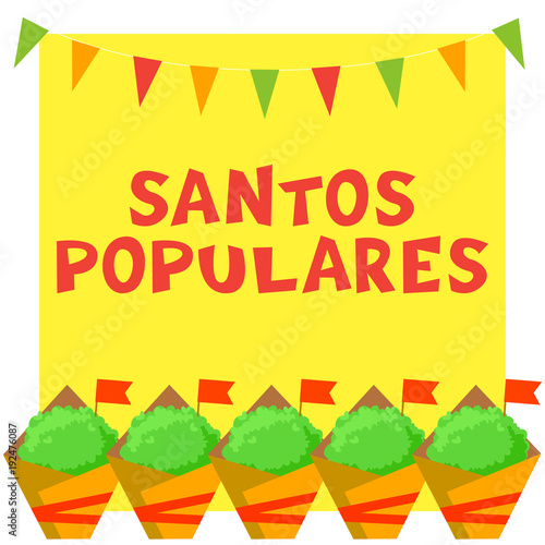 Santos Populares Portuguese festival card with manjerico plants and bunting garland Fototapeta