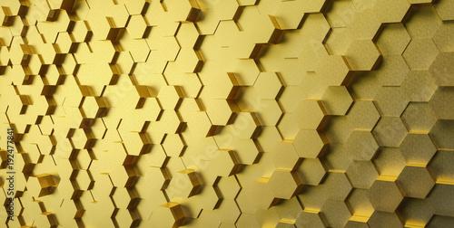 zlota-techniczne-3d-biale-szesciokatne-struktury-tla