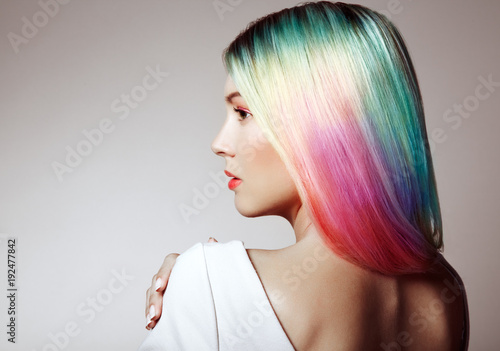 Cadres-photo bureau Salon de coiffure Beauty Fashion Model Girl with Colorful Dyed Hair. Girl with perfect Makeup and Hairstyle. Model with perfect Healthy Dyed Hair. Rainbow Hairstyles