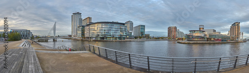 Photo  Media City panorama in Salford Quays, Manchester