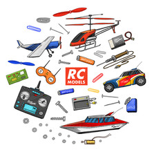 RC Transport, Remote Control Models. Toys Or Instruments. Set Details. Devices, Equipment, Tools For Service And Technical Repair. Boat Or Ship, Technologies. Radios System. Engraved Hand Drawn.
